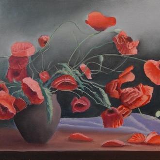 Картина маслом «Маки в вазе»