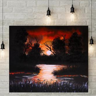Ночной пруд (картина масло/холст) 50х60х2 см