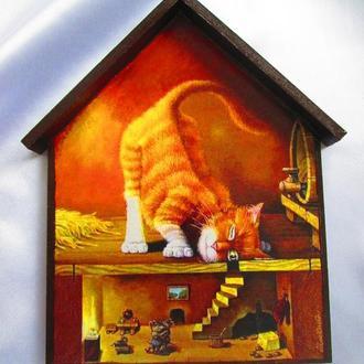 """Вішалка, ключниця -будиночок """"Кішки-мишки"""" в дитячу, вітальню"""