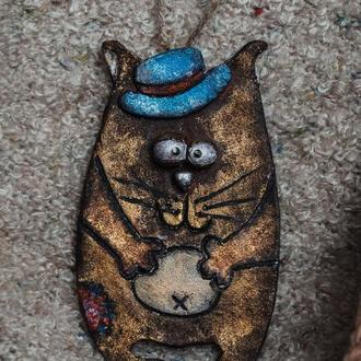 Котик из глины))) (магнитик /игрушка на ёлку)