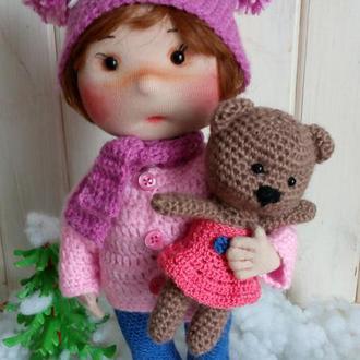 Авторская текстильная кукла Арина с любимой игрушкой.