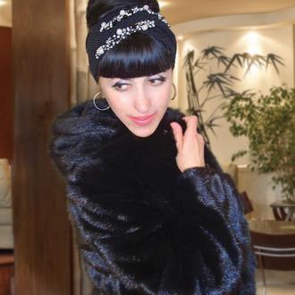 Вязаная повязка на голову Чалма женская с декором - Эксклюзная серия