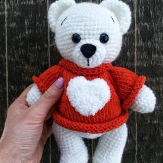 В'язаний ведмедик в сверті, подарунок на Св. Валентина