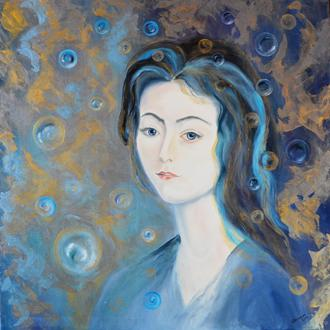 Картина маслом «Девушка»,  80х80 см, портрет живопись