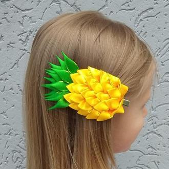 Заколка с ананасом канзаши Украшение для волос на фотосессию Подарок девочке на день рождение