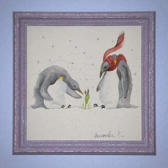 """Акварельная иллюстрация """" Пингвины"""""""