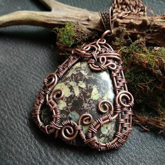 Кулон медный с яшмой// натуральный камень яшма //техника wire wrap