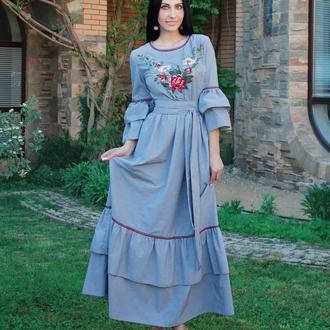 """Нарядное платье с вышивкой """"Винтажное"""" длинное вышитое платье"""