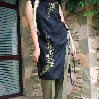 """Вышитый льняной костюм """"Лавровая ветка"""" костюм с вышивкой"""