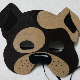Детская маска собачка Бульдог