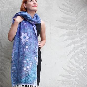 Шовково-вовняний шарф  ПАПОРОТІ ЦВІТ