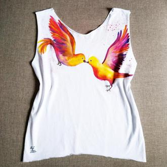 Дизайнерская Майка с росписью, рисунок, дизайн одежды,  птицы,  с принтом