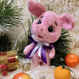 Мягкая игрушка  вязаная свинка хрюшка поросенок