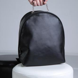 Стильный чёрный женский рюкзак из натуральной кожи