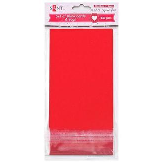 Заготовки для открыток 10х20 см 5 шт., красные