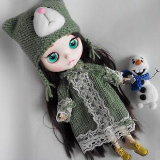 Комплект платье с шапкой для куклы Блайз, Айси