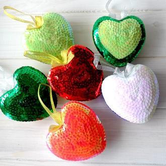 Сердечко-валентинка из пайеток, сувенир, подарок ко дню влюбленных 04