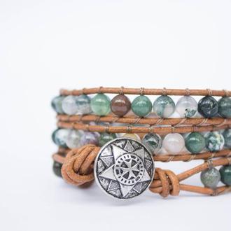Спиральный браслет  чан лу chan luu из натуральных камней. индийский агат