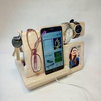 Подставка для телефона с фоторамкой, подарок на день влюбленных, на годовщину, на день рождения мужу