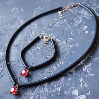 Цвет на выбор! Колье - чокер и браслет с кристаллом Swarovski подарок девушке на 14 февраля 8 марта