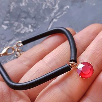 Колір на вибір! Браслет з кристалом Swarovski каучуковый браслет с подвеской подарок девушке жене