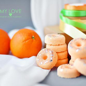Бомбочка/ гейзер для ванной Пончик Апельсинчик