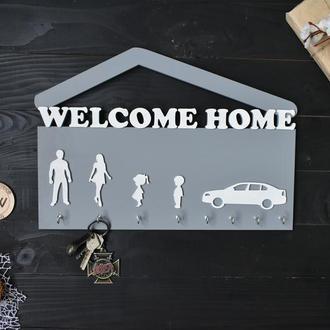 """Настенная ключница """"Welcome home"""""""