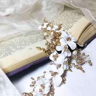 Свадебный веночек веточка с цветами золотистый