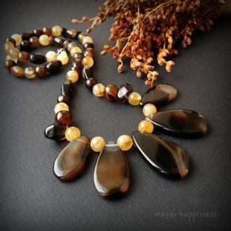 Карамель и мед бусы из агата и цитрина намисто з агату та цитрину жовто коричневе желто коричневое