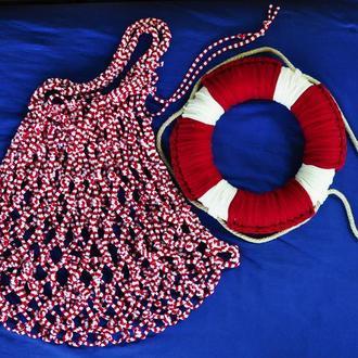 Сумка - авоська, морская, торба, вязаная, экосумка, розовая, летняя, пляжная из трикотажной пряжи
