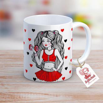 Супер девушка-тренер - чашка с  иллюстрацией