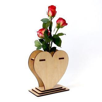 Маленькая деревянная ваза «Любящее сердце»: лучший подарок любимому человеку
