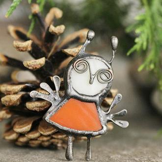 Брошь Сова оранжевая Подарок девушке