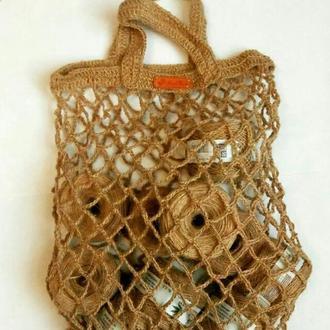 Вязаная сумка джут. Женская сумка сетка. Эко сумка. Этно стиль. Женская сумка