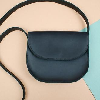 Шкіряна чорна сумка (жіноча сумочка на плече)