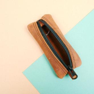 Шкіряна ключниця коричневого кольору на блискавці