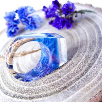 Космос, кольцо из дерева и ювелирной смолы, подарок для женщин и мужчин