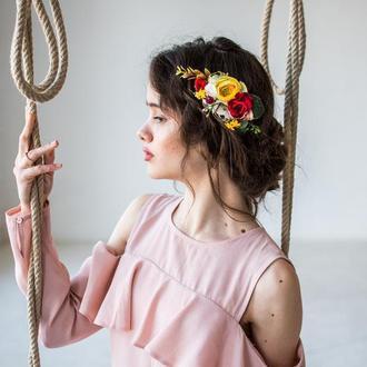 Гребінець для волосся з жовтими квітами Гребень для волос с цветами Гребешок свадебный для невесты
