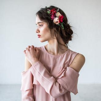 Гребень свадебный с цветами Гребешок для волос с цветами Свадебное украшение для невесты