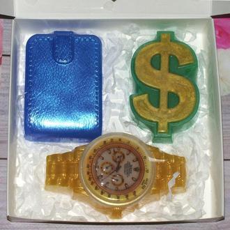 Сувенирное мыло: мужской набор: часы, доллар, портмоне