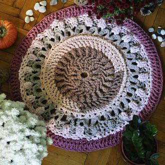 Вязаный большой ажурный ковёр из трикотажной пряжи / В'язаний великий ажурний килим з трикотажної