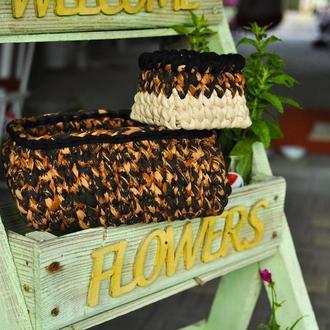 Набор леопардовых корзинок из трикотажной пряжи с деревянным дном / Набір леопардових кошиків