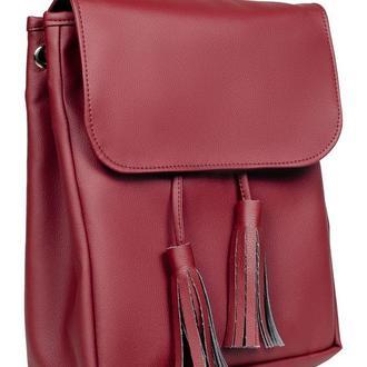 Вместительный женский рюкзак бордовый для ноутбука, учебы