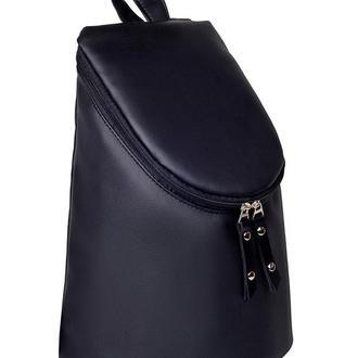 Вместительный женский рюкзак цилиндр чёрный для учебы