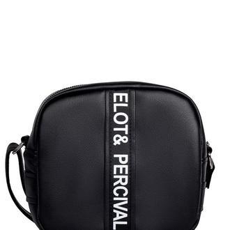 Удобная модная женская сумочка через плече чёрная с экокожи