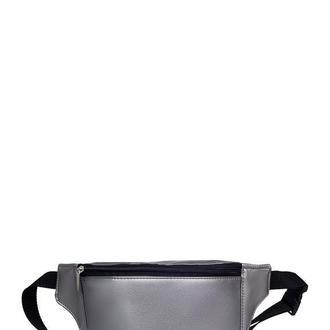 Женская бананка металлик поясная сумка серебро