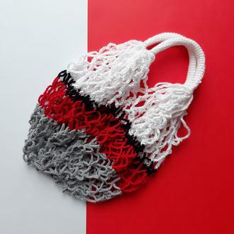 Авоська серый+красный+черный+белый
