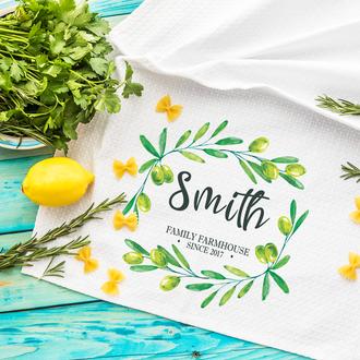 Кухонное полотенце именное Цветочный веночек
