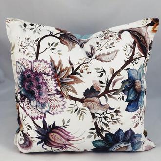 Диванная подушка с цветами  и бирюзовым однотонном. Подушка на замке.