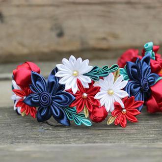 Ободок для волос с цветами , Синий + красный венок с цветами на голову